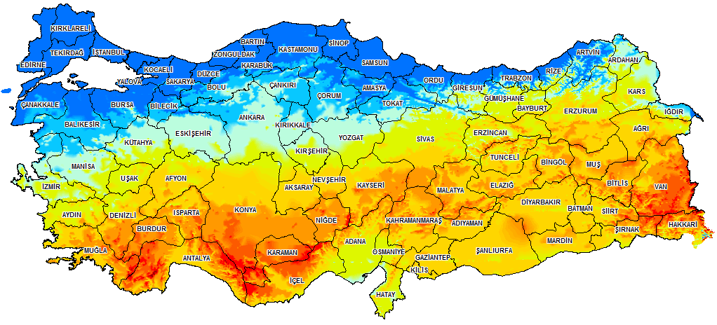 Map of Turkey Solar Energy Efficiency
